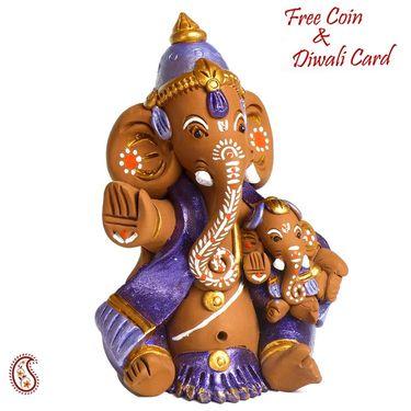 Colorful PoojaThali with Ganesh Motif & Coconut