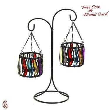 Weight Balance Colored Glass Tea Light Holders