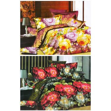 Set of 2 Floral 3D Printed Bedsheet with 4 Pillow Covers-DWCB-462_67