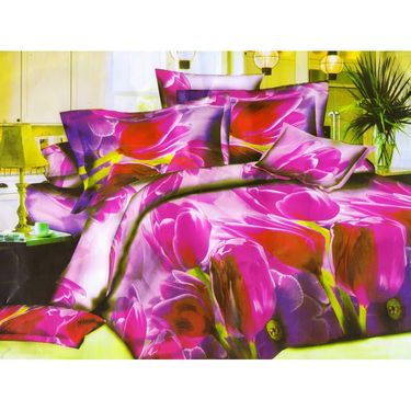 Set of 2 Floral 3D Printed Bedsheet with 4 Pillow Covers-DWCB-494_95