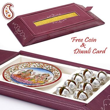 Gift Box with Kaju Anaar and Laxmi Ganesh Plate_DWMB1405