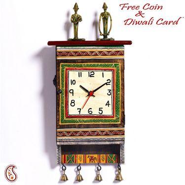 Aapno Rajasthan Beautiful Green Dhokra Art Wall Clock cum Key Holder