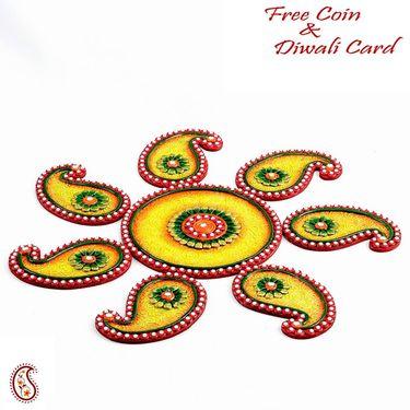 Aapno Rajasthan Yellow, Green and Red Wood Clay Keri Floor Art { Rangoli }
