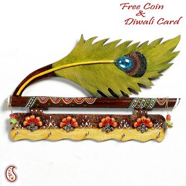 Bansuri and Peacock Feather Wood and Clay Key Holder