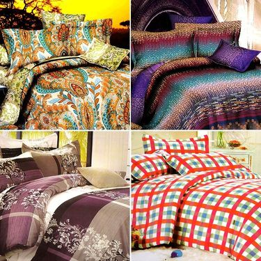 Valtellina Beautiful Design Printed 4 Double Bed Sheet with 8 pillow covers-DYN-008_10_16_18