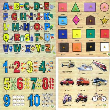 Dealbindaas Wooden Puzzle Alphabets Numbers Shapes And Transport Combo