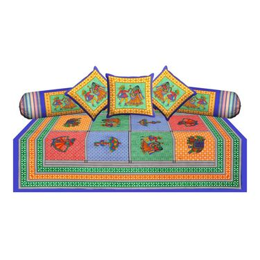 Combo of Jaipuri Print 100% Cotton Diwan Set and Double Bedsheet With Two Pillow Covers-Diwan2BS2