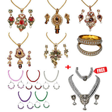 Heavy Chain Pendant Set + 2 Pearl Kada + 5 Pearl Mala Set available at Naaptol for Rs.3999