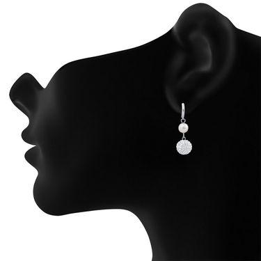 Branded Rhodium Plated Artificial Earrings_Er2193106r