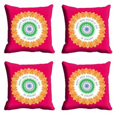 meSleep Pink Happy Republic Day Cushion Cover (16x16) -EV-10-REP16-CD-017-04