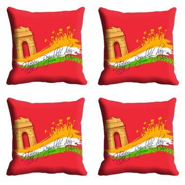 meSleep Red Happy Republic Day Cushion Cover (16x16) -EV-10-REP16-CD-023-04