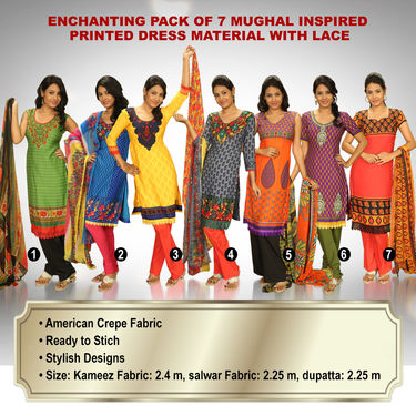 Enchanting Pack of 7 Mughal Inspired Printed Dress Material with Lace (7PDM2)