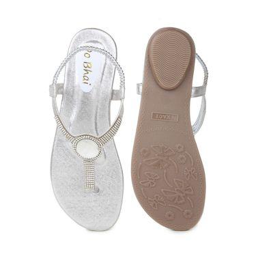 Do Bhai Faux Leather Flats Eye-Sandal-Silver