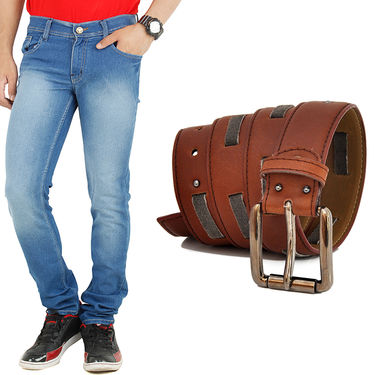 Combo of Cotton Jeans + Casual Belt_D203b204