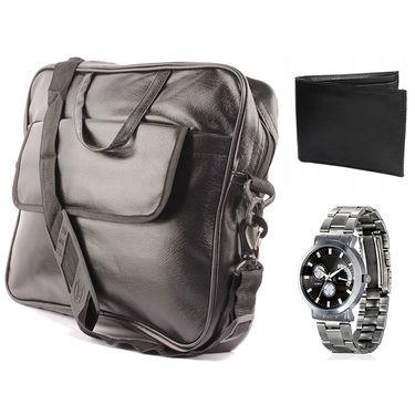 Fidato Laptop Bag + Fidato Men's Steel watch + Fidato Black Leather Wallet