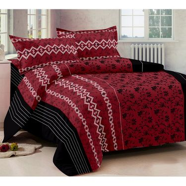 Story @ Home 240 TC 100% Cotton Red 1 Double Bedsheet With 2 Pillow Cover-FE1102