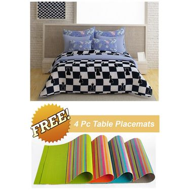 Storyathome Black Checks 1 Double Bedsheet With 2 Pillow Cover -FE1125_TT