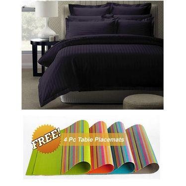 Storyathome Purple Satin Stripes King Size 1 Bedsheet + 2 Pillow Cover -FE2066_TT