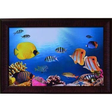 eCraftIndia 3D Sea Life view Design Satin Matt Texture Framed UV Art Print-FPGK711