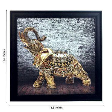 eCraftIndia Jewelled Elephant Design Satin Matt Texture Framed UV Art Print-FPSJ601