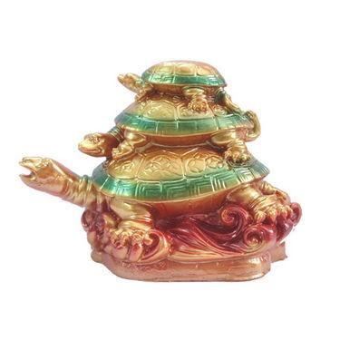Fengshui Tortoise On Tortoise For Longevity & Success (Office & Home) - Golden