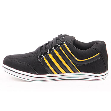 Foot n Style Faux Leather Casual Shoes  FS300 - Black & Yellow