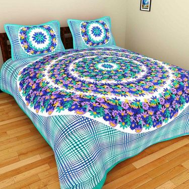 GRJ India Pure Cotton Multi Colour 3 Double BedSheet With 6 Pillow Covers-GRJ-3DB-69OG-68PK-70GRN