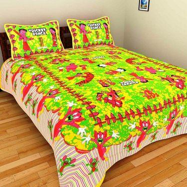 GRJ India Pure Cotton Multi Colour 3 Double BedSheet With 6 Pillow Covers-GRJ-3DB-69PK-68OL-70PK