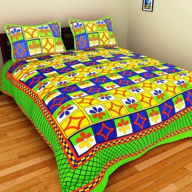 GRJ India Pure Cotton Multi Colour 4 Double BedSheet With 8 Pillow Covers-GRJ-4DB-69PK-67GRN-68OG-70PL