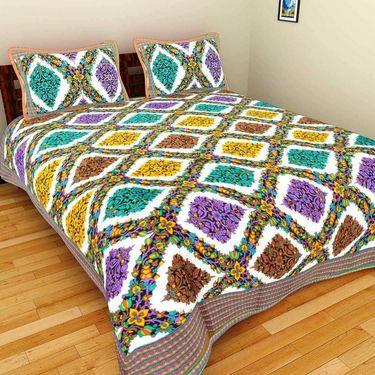 GRJ India Pure Cotton Multi Colour 4 Double BedSheet With 8 Pillow Covers-GRJ-4DB-71GRN-73PL-72BR-67RD