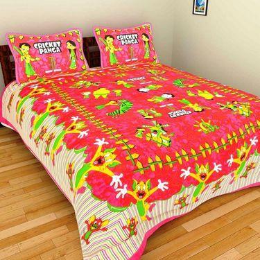 GRJ India Pure Cotton Multi Colour 6 Double BedSheet With 12 Pillow Covers-GRJ-6DB-69GRN-68PK-67PL-70GRL-73PL-71GRN
