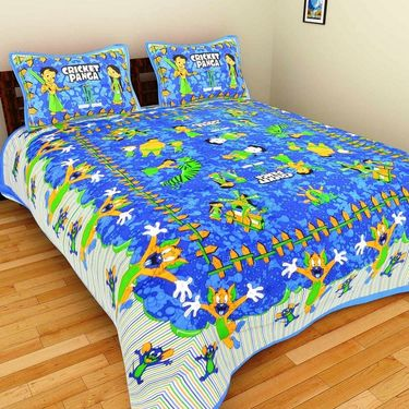 GRJ India Pure Cotton Multi Colour 6 Double BedSheet With 12 Pillow Covers-GRJ-6DB-69YL-68BL-67BL-71RD-70RD-73BL