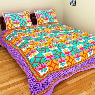 GRJ India Pure Cotton Multi Colour 8 Double BedSheet With 16 Pillow Covers-GRJ-8DB-72PK-68PK-67PL-69GRN-70GRL-73PL-71GRN-68OL