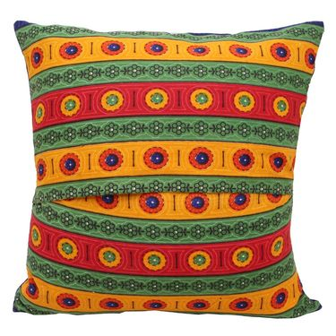 GRJ India Traditional Kantha Work  Floral Print Cushion Cover Set-5 pcs-GRJ-CC-5P-27