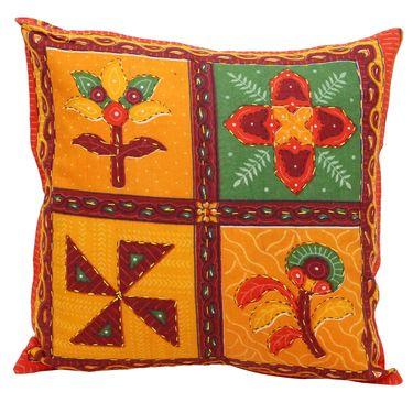 GRJ India Traditional Kantha Work Floral Print Cushion Cover Set-5 pcs-GRJ-CC-5P-37