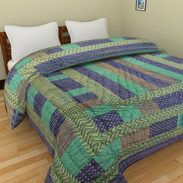 GRJ India Designer Printed Single Bed Quilt-GRJ-SQ-148