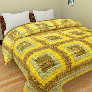 GRJ India Designer Printed Single Bed Quilt-GRJ-SQ-155