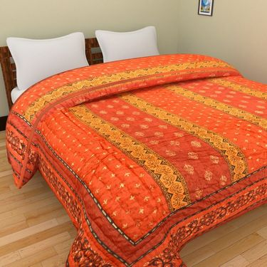 GRJ India Designer Printed Single Bed Quilt-GRJ-SQ-156