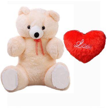 Valentine Combo of 5 Feet Teddy & Soft Toy Heart - Cream