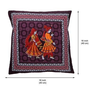 eCraftIndia Marriage Couple Printed Set of 5 Cotton Cushion Covers-HF5CC158_B