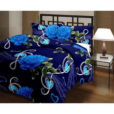 eCraftIndia Jumbo Blue Rose and Heart Design Single Bed Reversible AC Blanket-HFBD166