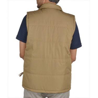 Branded Sleeveless Bomber Jacket (Polyester) For Men _HOLISTER-BEIGE -  Beige