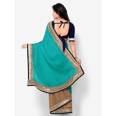 Indian Women Satin Chiffon Printed Saree -HT71003