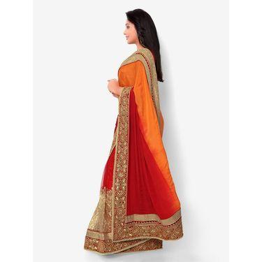 Indian Women Satin Chiffon Printed Saree -HT71008
