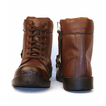 Synthetic Leather Brown Boots -bn1