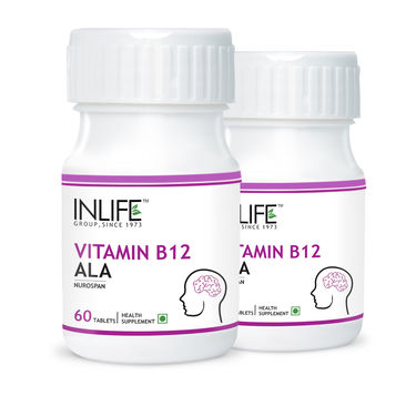 INLIFE Pack of 2 Vitamin B12 Alpha Lipoic Acid (ALA) - 120 Tabs For Memory Health