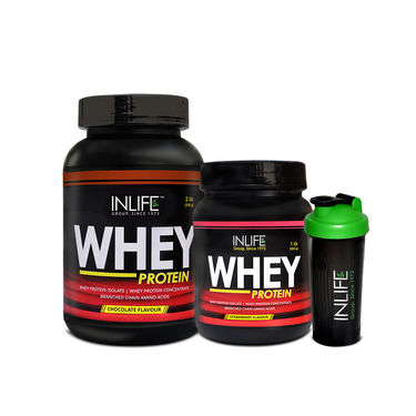 INLIFE Combo Of Whey Protein 2 lbs (908g) Chocolate & 1 lbs (908g) Strawberrywith Free Shaker
