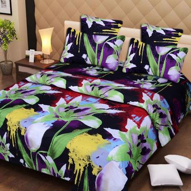 Set of 2 3D Printed Double Bedsheet with 4 Pillow covers -IWS-3d-41