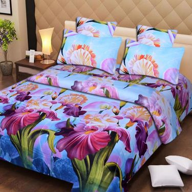 Set of 2 3D Printed Double Bedsheet with 4 Pillow covers -IWS-3d-48