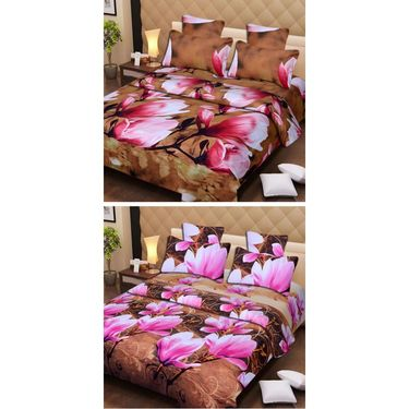 Set of 2 3D Printed Double Bedsheet with 4 Pillow covers -IWS-3d-60